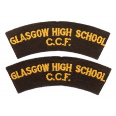 Pair of Glasgow High School Combined Cadet Force (GLASGOW HIGH SCHOOL/C.C.F.) Cloth Shoulder Titles