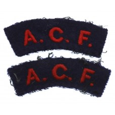 Pair of Army Cadet Force (A.C.F.) Cloth Shoulder Titles