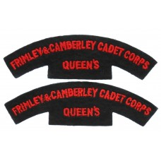 Pair of Frimley & Camberley Cadet Corps Queen's Cloth Shoulder Titles