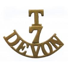 7th (Cyclist) Territorial Bn. Devonshire Regiment (T/7/DEVON) Shoulder Title