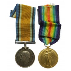WW1 British War & Victory Medal Pair - Pte. S.J. Winship, 18t
