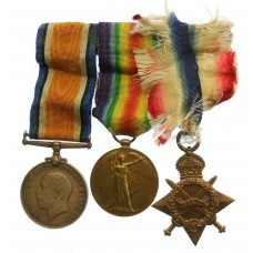 WW1 1914-15 Star Medal Trio - Pte. W. Gilbert, Notts & Derby Regiment (Sherwood Foresters) - Wounded