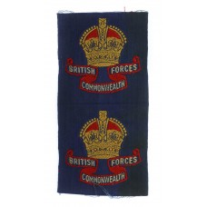 Pair of Uncut British Commonwealth Forces Cloth Formation Signs - King's Crown