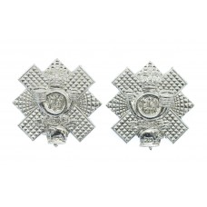 Pair of Highland Light Infantry (H.L.I.) Anodised (Staybrite) Collar Badges - Queen's Crown