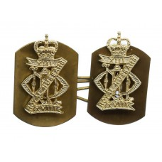 Pair of 13th/18th Royal Hussars Anodised (Staybrite) Collar Badges