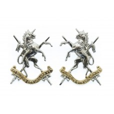 Pair of Queen's Own Lowland Yeomanry Anodised (Staybrite) Collar Badges