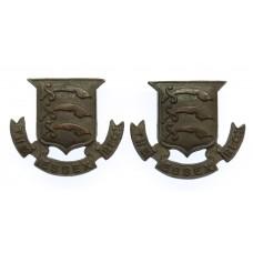 Pair of Essex Regiment Officer's Service Dress Collar Badges