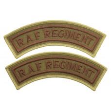 Pair of Royal Air Force Regiment (R.A.F. REGIMENT) Cloth Shoulder Titles