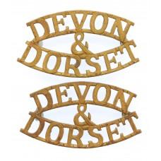 Pair of Devonshire & Dorset Regiment (DEVON/&/DORSET) Shoulder Titles