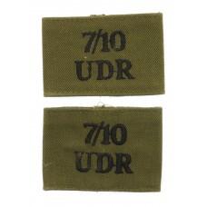 Pair of 7th/10th Ulster Defence Regiment (7/10/UDR) Cloth Slip On Shoulder Titles
