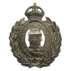 Wigan Borough Police Wreath Helmet Plate / Kepi Badge - King's Cr