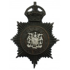 Wigan Borough Police Night Helmet Plate - King's Crown