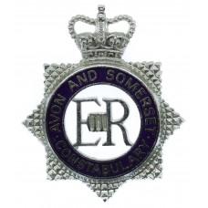 Avon & Somerset Constabulary Senior Officer's Enamelled Cap Badge - Queen's Crown
