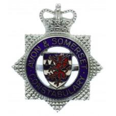 Avon & Somerset Constabulary Enamelled Cap Badge - Queen's Crown