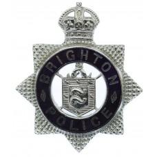 Brighton Borough Police Senior Officer's Enamelled Cap Badge - King's Crown