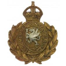 Somerset Constabulary Wreath Helmet Plate - King's Crown