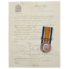 WW1 British War Medal with Original Transmittal Document - Pte. A