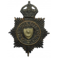 Portsmouth City Police Night Helmet Plate - King's Crown