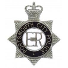 Portsmouth City Police Senior Officer's Enamelled Cap Badge - Queen's Crown