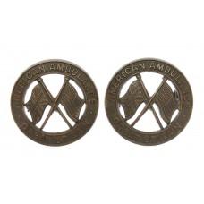 Pair of WW2 American Ambulance Great Britain Bronze Collar Badges