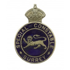 Surrey Special Constable Enamelled Lapel Badge - King's Crown