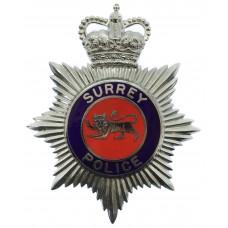 Surrey Police Enamelled Helmet Plate - Queen's Crown