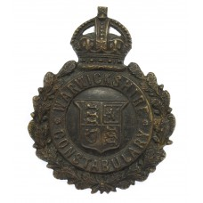 Warwickshire Constabulary Small Blackened Brass Wreath Helmet Pla