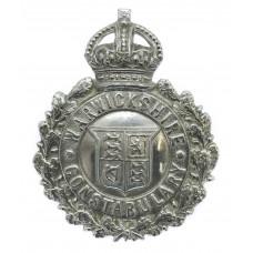 Warwickshire Constabulary Small Chrome Wreath Helmet Plate - King