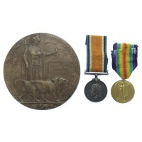 WW1 British War Medal, Victory Medal and Memorial Plaque - Pte. J.W. Preece, 10th Bn. Lancashire Fusiliers - K.I.A. 15/04/17