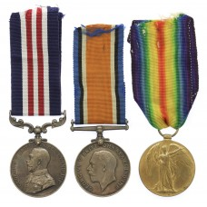Rare WW1 North Russia (Murmansk Command) Military Medal, British War Medal & Victory Medal Group of Three - Signaller H. Edwards, 16/32nd Bde, 86th Bty. Royal Field Artillery