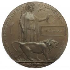 WW1 Memorial Plaque (Death Penny) - Thomas Cox
