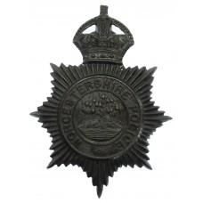 Worcestershire Police Blackened Brass Helmet Plate - King's Crown