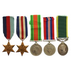 WW2 and Territorial Efficiency Medal Group of Five - Sjt. J.H. Millard, Royal Artillery (formerly, Sherwood Foresters)