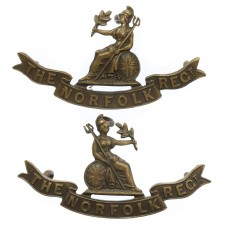 Pair of Norfolk Regiment Officer's Service Dress Collar Badges