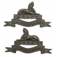 Pair of Lincolnshire Regiment Officer's Service Dress Collar Badg