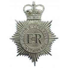 Devon & Cornwall Constabulary Helmet Plate - Queen's Crown