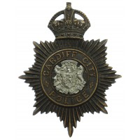 Cardiff City Police Night Helmet Plate - King's Crown