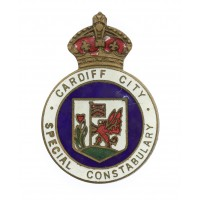 Cardiff City Special Constabulary Enamelled Lapel Badge - King's Crown