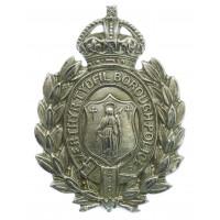 Merthyr Tydfil Borough Police Chrome Wreath Cap Badge - King's Crown