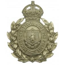 Merthyr Tydfil Borough Police White Metal Wreath Helmet Plate - King's Crown
