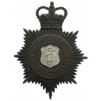 Merthyr Tydfil Borough Police Night Helmet Plate - Queen's Crown