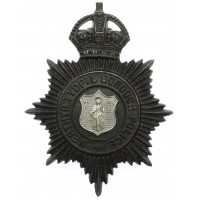 Merthyr Tydfil Borough Police Night Helmet Plate - King's Crown