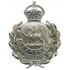 Glamorgan Constabulary Chrome Wreath Cap Badge - King's Crown