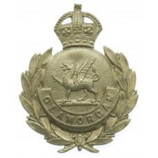 Glamorgan Constabulary White Metal Wreath Cap Badge - King's Crow