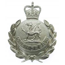 Glamorgan Constabulary Chrome Wreath Helmet Plate- Queen's Crown
