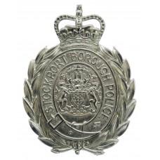 Stockport Borough Police Wreath Helmet Plate - Queen's Crown (Non