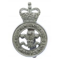Carmarthen and Cardigan Police Cap Badge - Queen's Crown