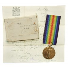 WW1 Victory Medal with Original Box and Transmittal Document - Pt