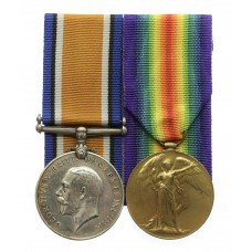 WW1 British War & Victory Medal Pair - Pte. H. Nelson, King's Own Yorkshire Light Infantry - Wounded