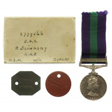 General Service Medal (Clasp - Cyprus) with Dog Tags and Box of Issue - SAC. P. Slingsby, Royal Air Force